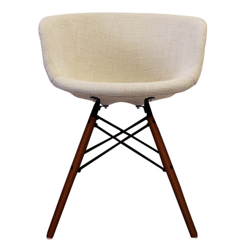 Vogue Style Cream Fabric DAW Walnut Armchair - directhomeliving