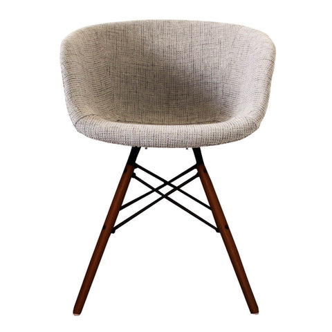 Vogue Style Grey Fabric DAW Walnut Armchair - directhomeliving