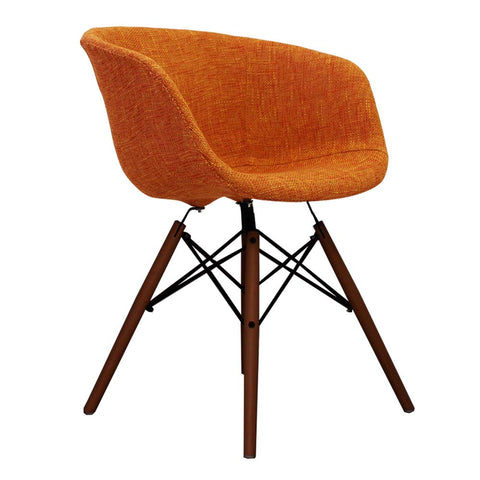 Vogue Style Orange Fabric DAW Walnut Armchair - directhomeliving