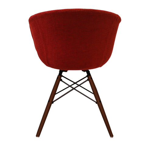 Vogue Style Red Fabric DAW Walnut Armchair - directhomeliving