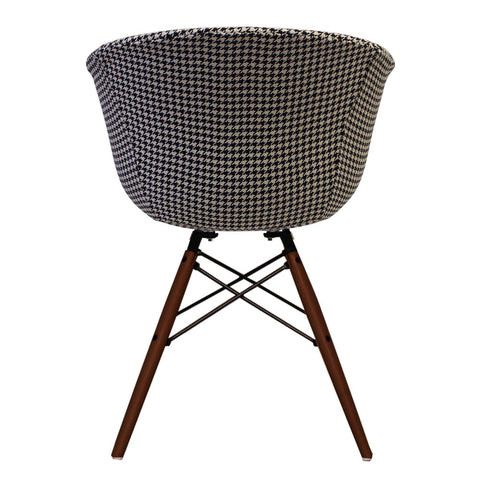 Vogue Style Houndstooth Fabric DAW Walnut Armchair - directhomeliving