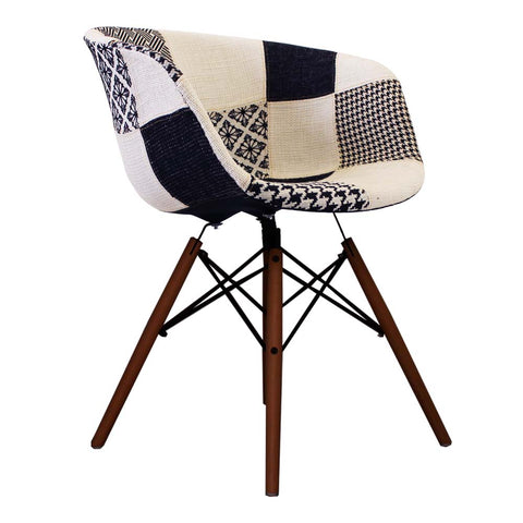 Vogue Style Monochrome Patch Fabric DAW Walnut Armchair - directhomeliving