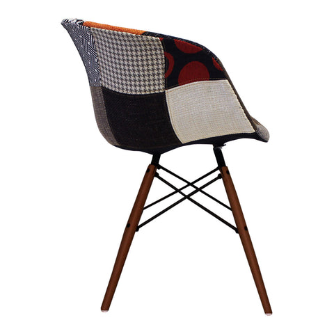 Vogue Style Patchwork Fabric DAW Walnut Armchair - directhomeliving