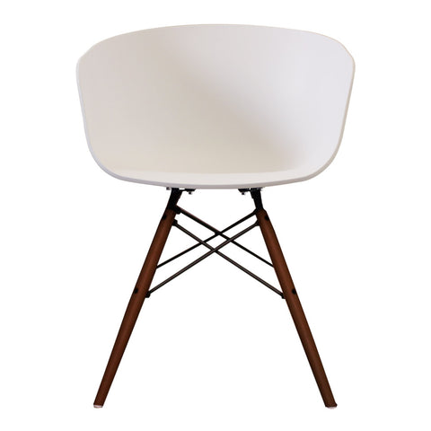 Vogue Style White Plastic DAW Walnut Armchair - directhomeliving