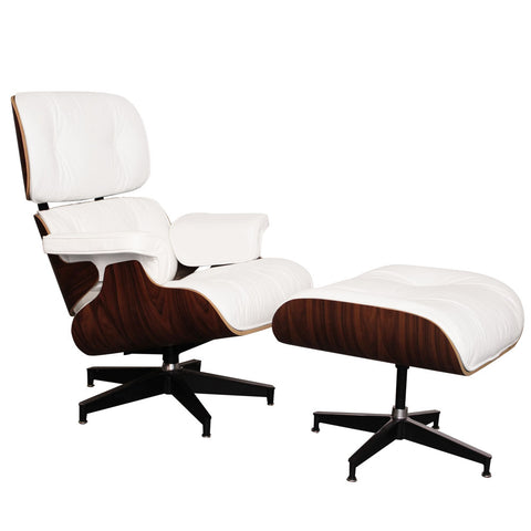 Eames Style Luxury White Rosewood Lounge Chair and Ottoman - directhomeliving