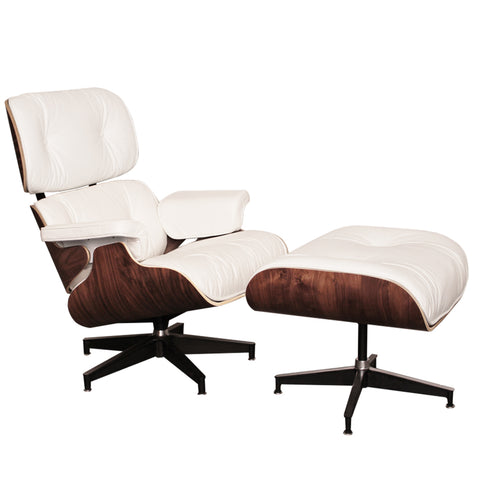 Eames Style Luxury White Walnut Lounge Chair and Ottoman - directhomeliving