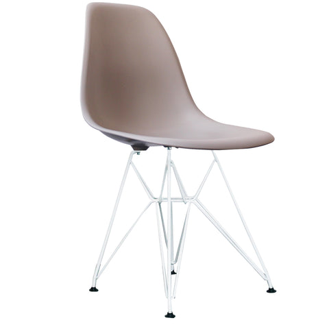 CHARLES EAMES Style Light Grey Plastic Retro DSR Side Chair with White Legs - directhomeliving