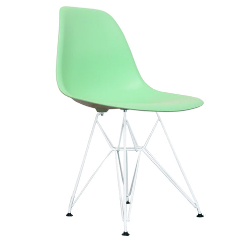 CHARLES EAMES Style Peppermint Plastic Retro DSR Side Chair with White Legs - directhomeliving