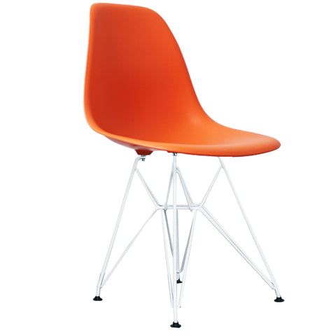 CHARLES EAMES Style Orange Plastic Retro DSR Side Chair with White Legs - directhomeliving