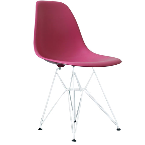 CHARLES EAMES Style Pink Plastic Retro DSR Side Chair with White Legs - directhomeliving