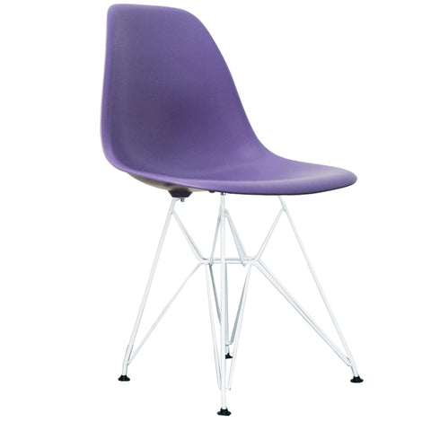 CHARLES EAMES Style Purple Plastic Retro DSR Side Chair with White Legs - directhomeliving