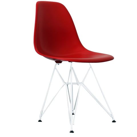 CHARLES EAMES Style Red Plastic Retro DSR Side Chair with White Legs - directhomeliving