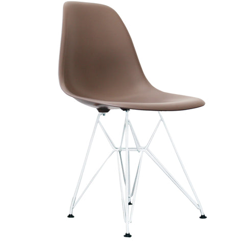 CHARLES EAMES Style Slate Plastic Retro DSR Side Chair with White Legs - directhomeliving