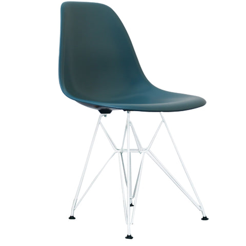 CHARLES EAMES Style Teal Plastic Retro DSR Side Chair with White Legs - directhomeliving