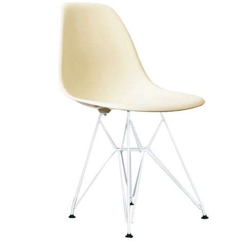 CHARLES EAMES Style Vanilla Plastic Retro DSR Side Chair with White Legs - directhomeliving