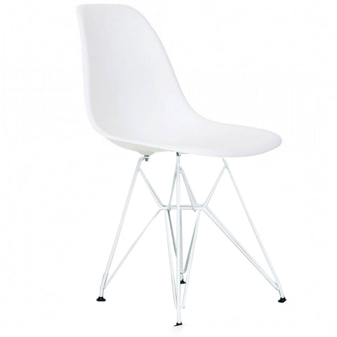 CHARLES EAMES Style White Plastic Retro DSR Side Chair with White Legs - directhomeliving