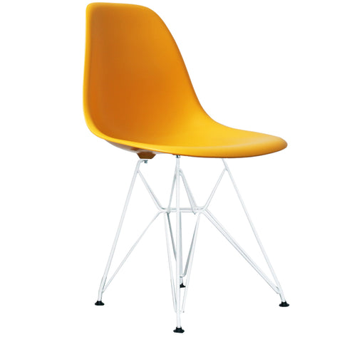 CHARLES EAMES Style Yellow Plastic Retro DSR Side Chair with White Legs - directhomeliving