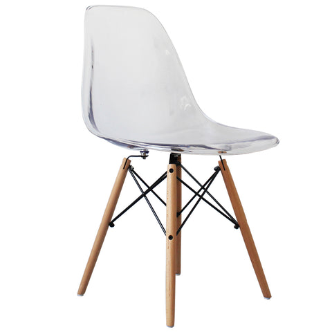 CHARLES EAMES Style Clear Plastic Retro DSW Side Chair - directhomeliving