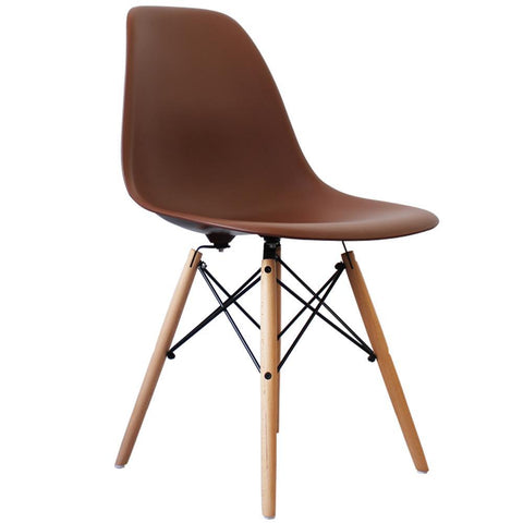 CHARLES EAMES Style Coffee Plastic Retro DSW Side Chair - directhomeliving