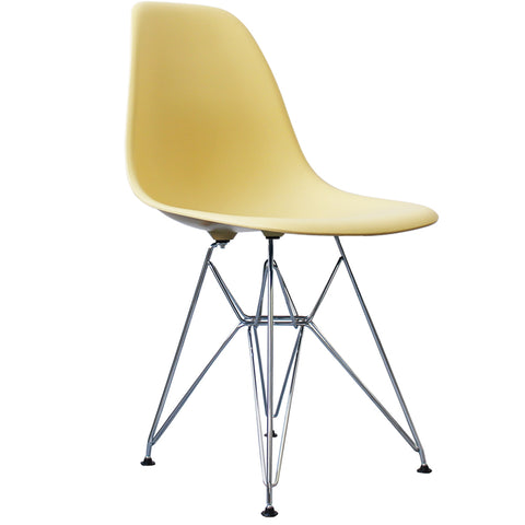 CHARLES EAMES Style Cream Plastic Retro DSR Side Chair - directhomeliving