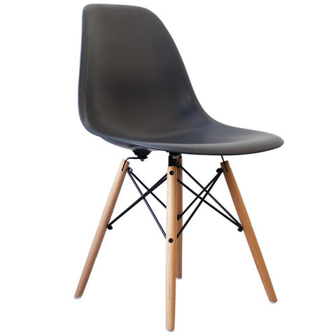 CHARLES EAMES Style Dark Grey Plastic Retro DSW Side Chair - directhomeliving