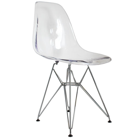 CHARLES EAMES Style Clear Plastic Retro DSR Side Chair - directhomeliving
