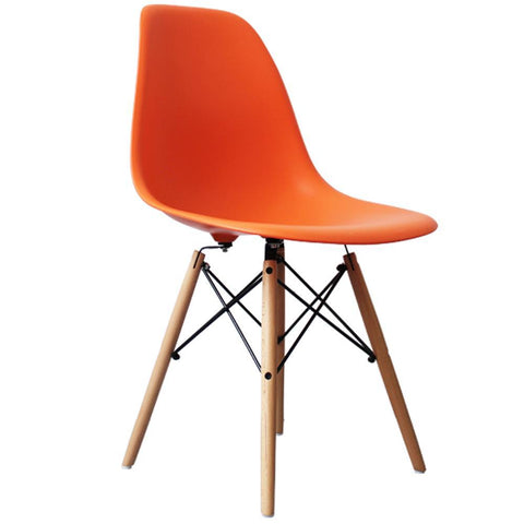 CHARLES EAMES Style Orange Plastic Retro DSW Side Chair - directhomeliving