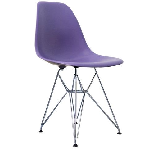 CHARLES EAMES Style Purple Plastic Retro DSR Side Chair