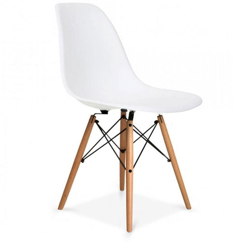CHARLES EAMES Style White Plastic Retro DSW Side Chair - directhomeliving