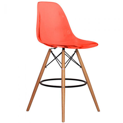 CHARLES EAMES Style Ghost Red Plastic Retro DSB Bar Stool - directhomeliving