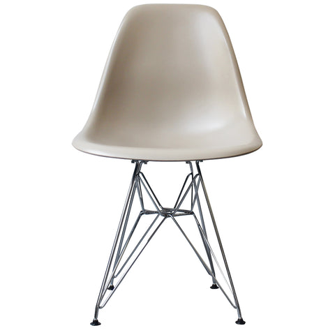 CHARLES EAMES Style Beige Plastic Retro DSR Side Chair