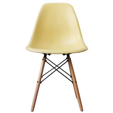 CHARLES EAMES Style Cream Plastic Retro DSW Side Chair - directhomeliving