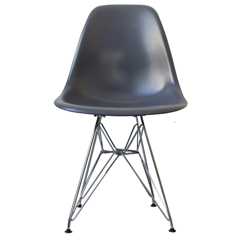 CHARLES EAMES Style Dark Grey Plastic Retro DSR Side Chair - directhomeliving