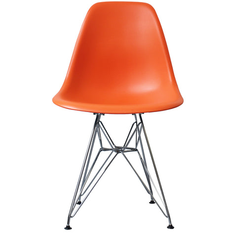 CHARLES EAMES Style Orange Plastic Retro DSR Side Chair