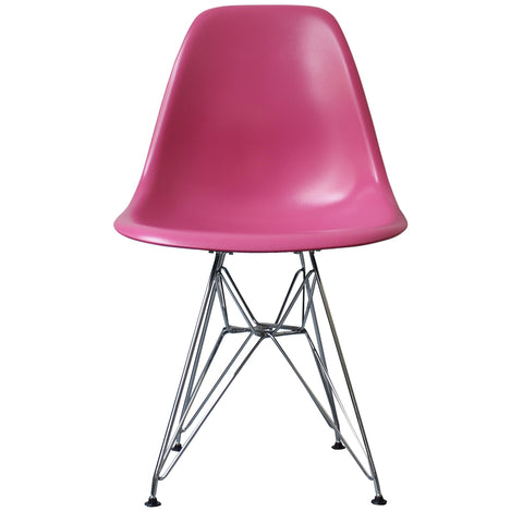 CHARLES EAMES Style Pink Plastic Retro DSR Side Chair