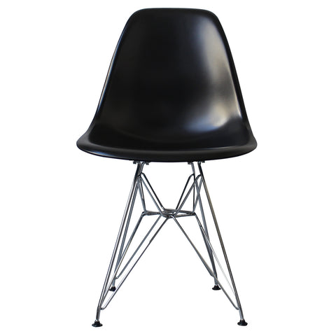 CHARLES EAMES Style Black Plastic Retro DSR Side Chair - directhomeliving