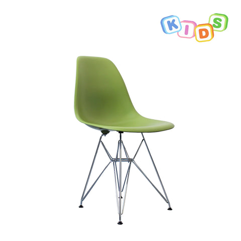 CHARLES EAMES Style Green Plastic Kids DSR Side Chair - directhomeliving