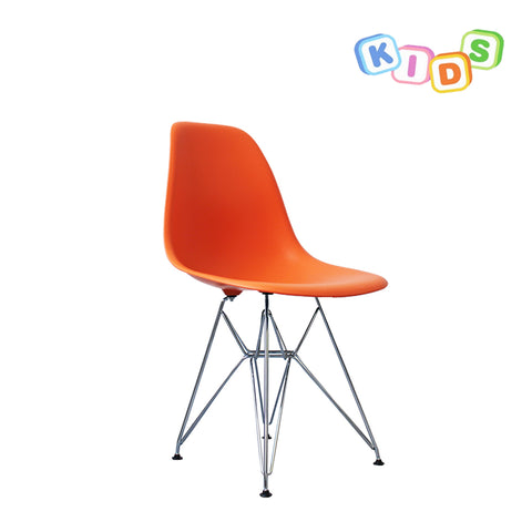CHARLES EAMES Style Orange Plastic Kids DSR Side Chair - directhomeliving