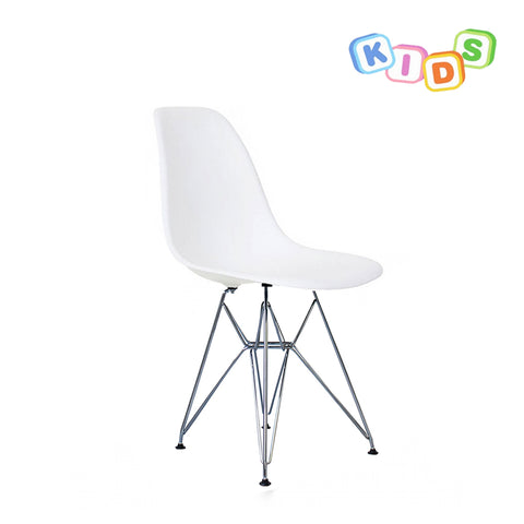 CHARLES EAMES Style White Plastic Kids DSR Side Chair - directhomeliving
