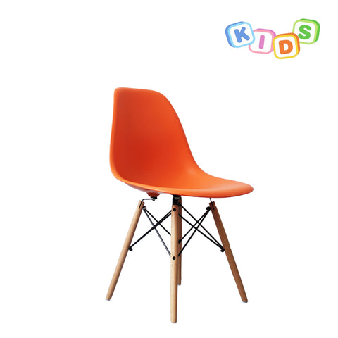 CHARLES EAMES Style Orange Plastic Kids DSW Side Chair - directhomeliving