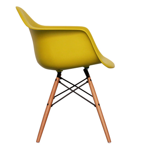 CHARLES EAMES Style Mustard Plastic Retro DAW Armchair - directhomeliving