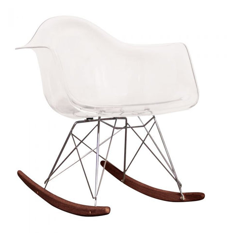 CHARLES EAMES Style Clear Plastic Retro RAR Walnut Rocking Chair - directhomeliving