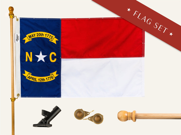 North Carolina Flag Set With Pole Bracket and Spinners