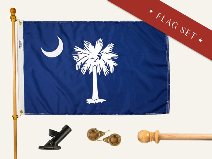 South Carolina Flag Set With Pole Bracket and Spinners