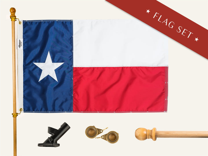 Texas Flag Set Premium Flagpole