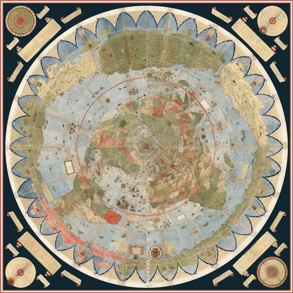 Ancient Flat Earth Map Poster - Urbano Monte 1587  33
