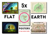 5 x A3 Flat Earth Maps and Posters: Gleason, orlando, Flammarion, Neuville Map of the World and Under the Dome Print