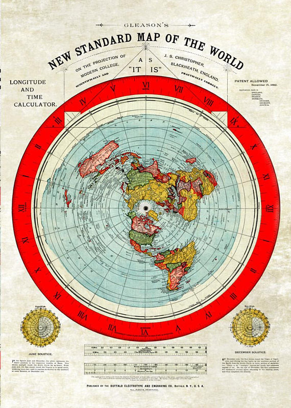Flat Earth Alexander Gleason Map -Restored Version A1 33