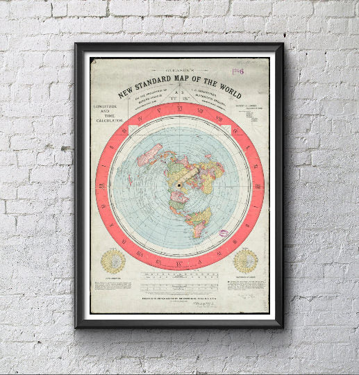 Flat Earth Gleason Map A1 - Alexander Gleason's New Standard Map of the World