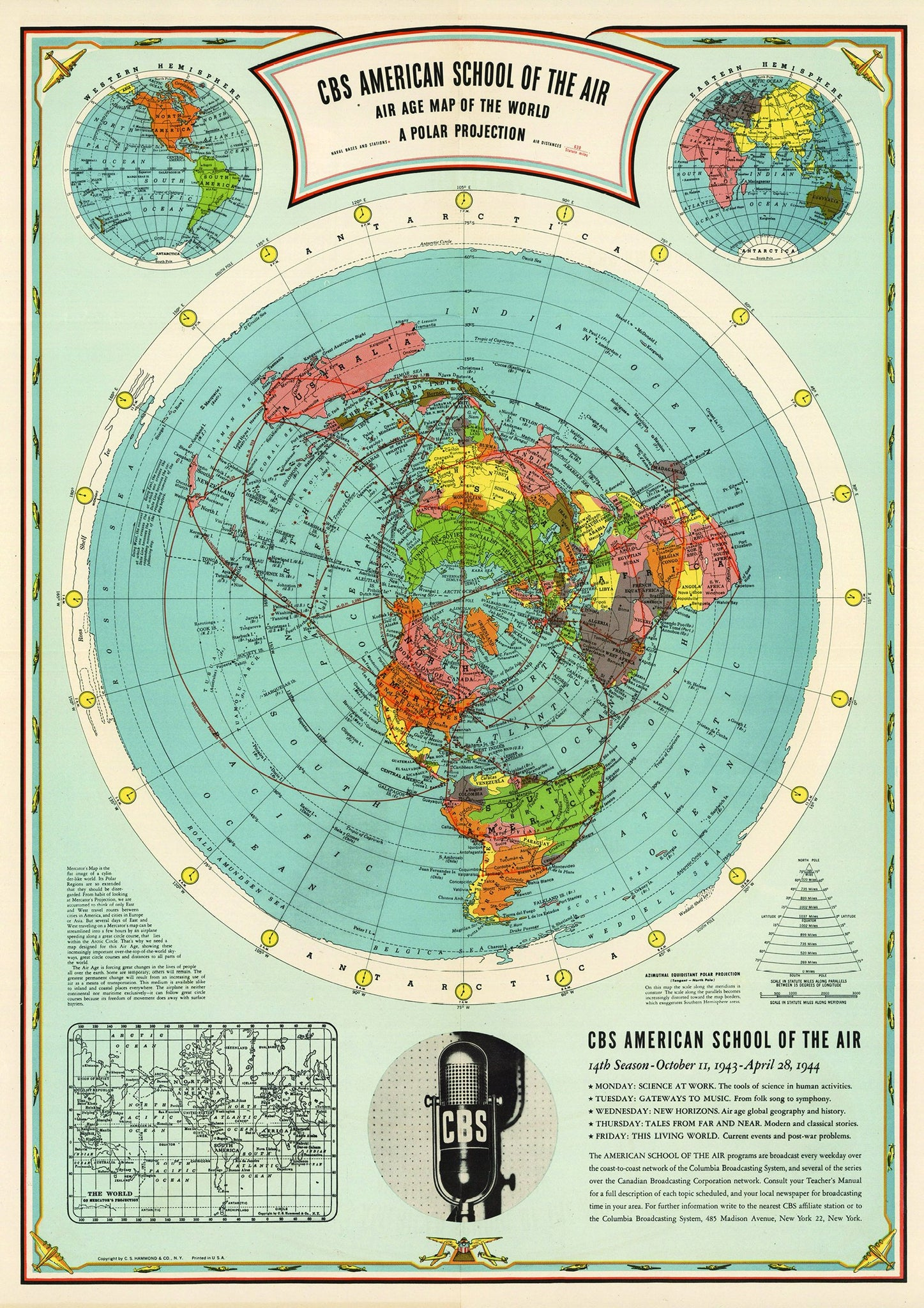 Flat Earth Map Cbs American School Of The Air Hammond Map Print